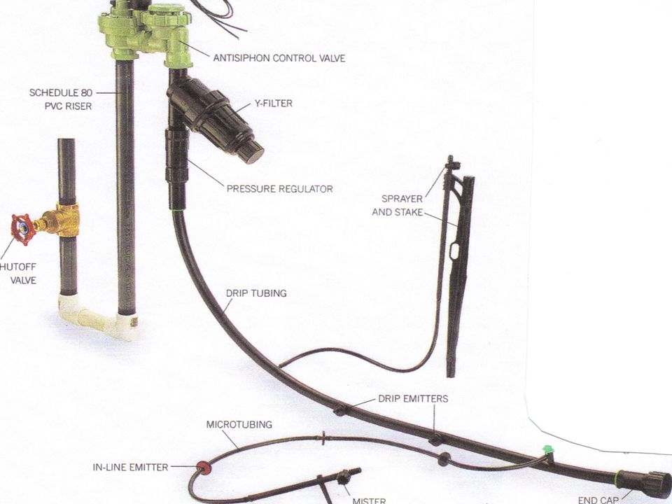 Here is a key parts of a Drip Irrigation system set up that can connect to your garden hose: