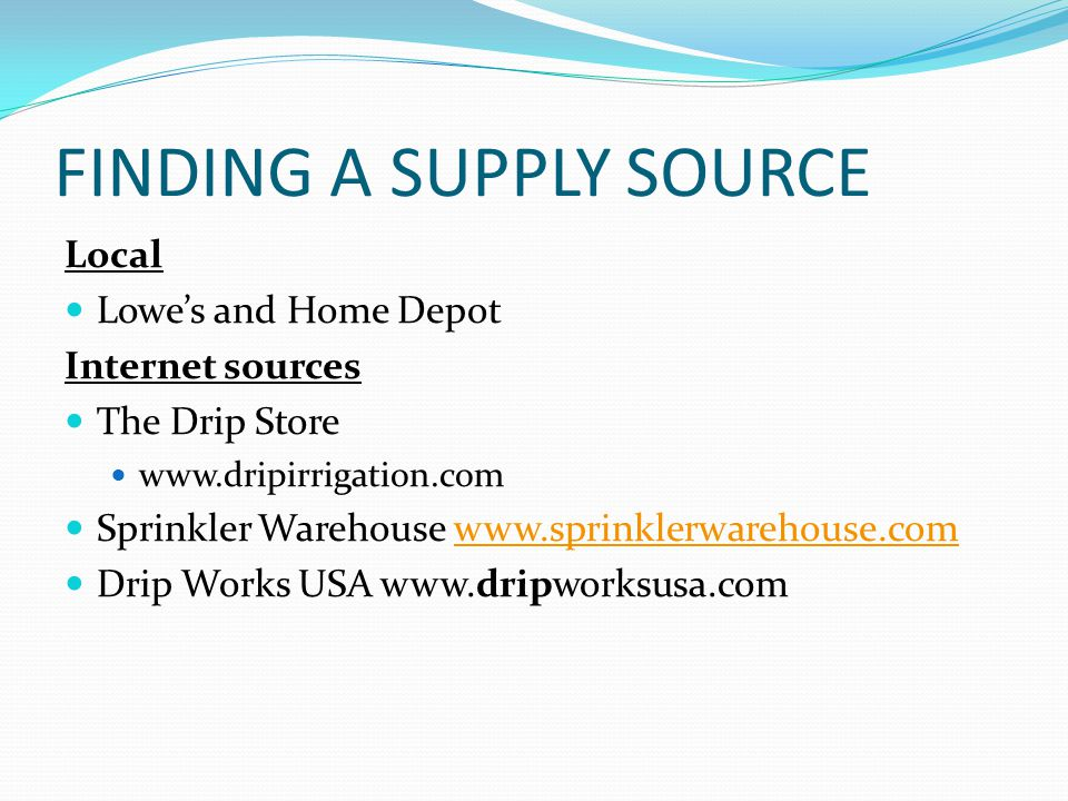FINDING A SUPPLY SOURCE