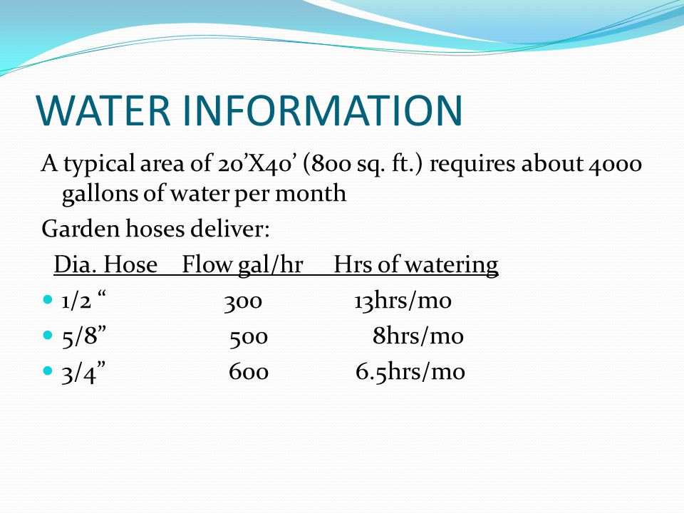 WATER INFORMATION A typical area of 20'X40' (800 sq. ft.) requires about 4000 gallons of water per month.