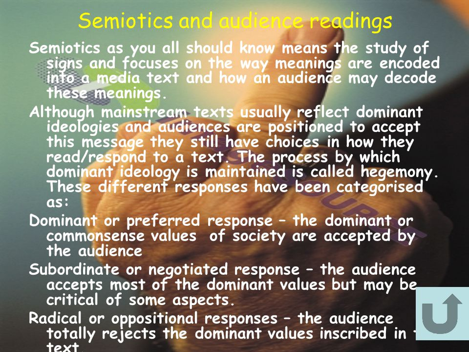 Semiotics and audience readings