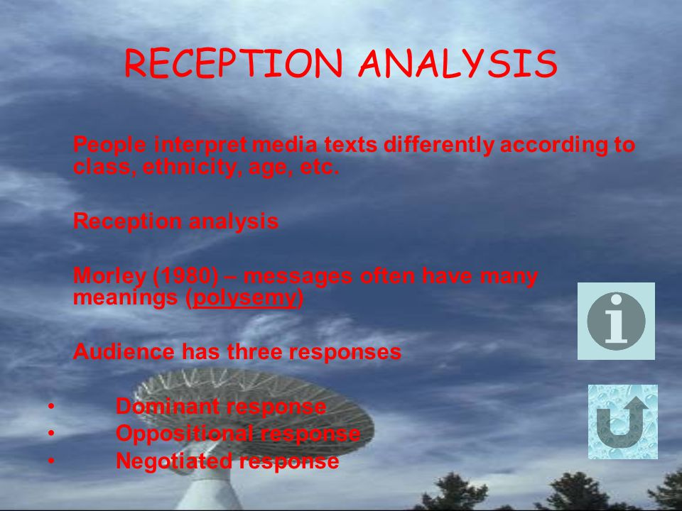 RECEPTION ANALYSIS People interpret media texts differently according to class, ethnicity, age, etc.