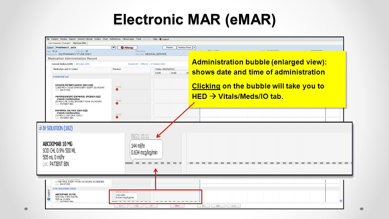 Electronic MAR (eMAR) Administration bubble (enlarged view): shows date and time of administration.