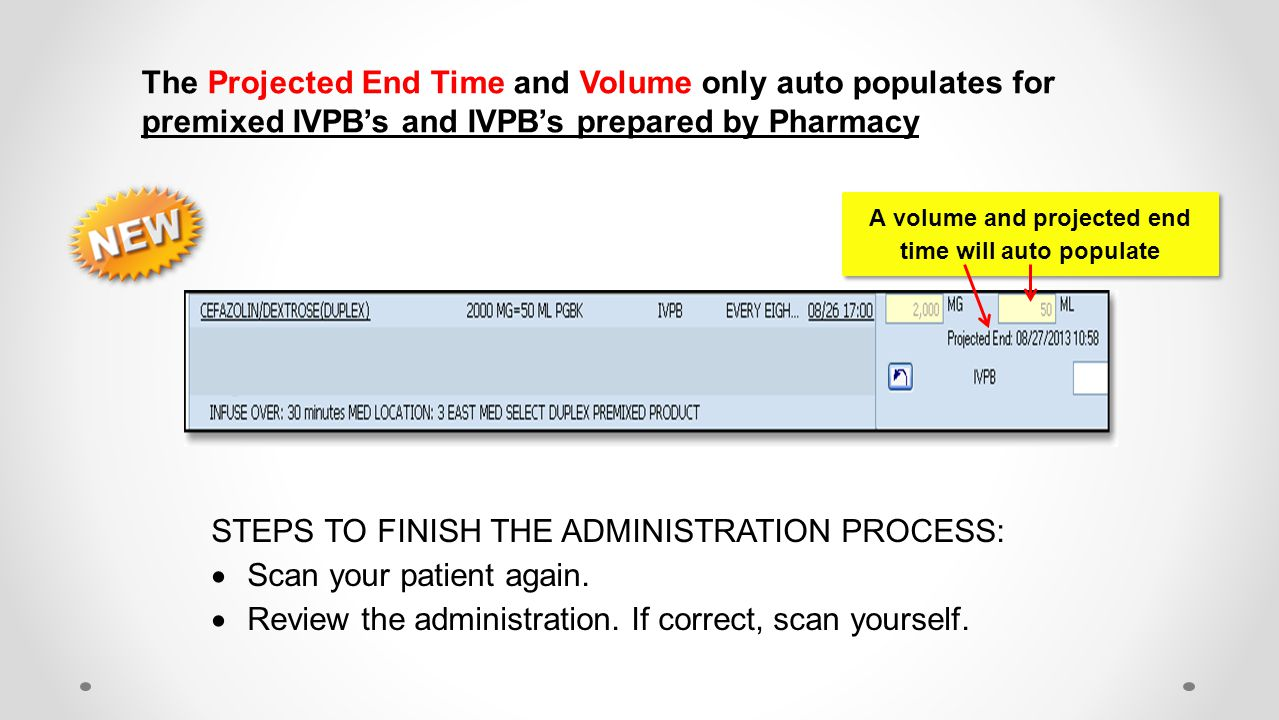 A volume and projected end time will auto populate