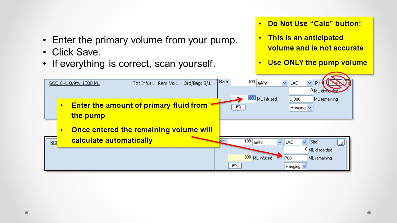 Enter the primary volume from your pump. Click Save.