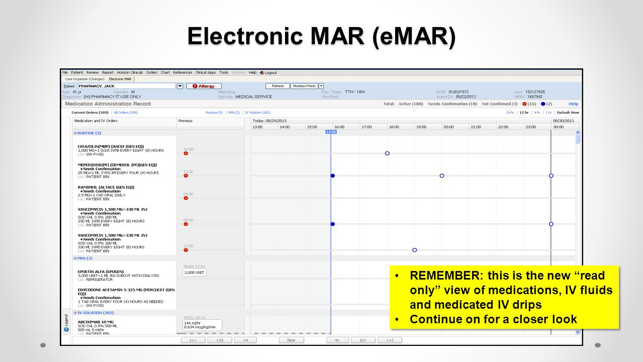 Electronic MAR (eMAR) REMEMBER: this is the new read only view of medications, IV fluids and medicated IV drips.