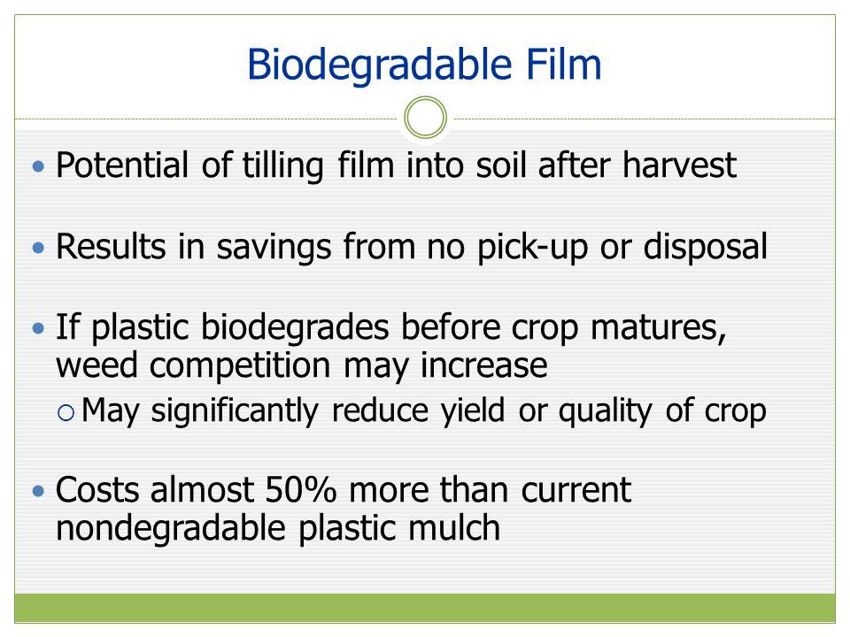 Biodegradable Film Potential of tilling film into soil after harvest