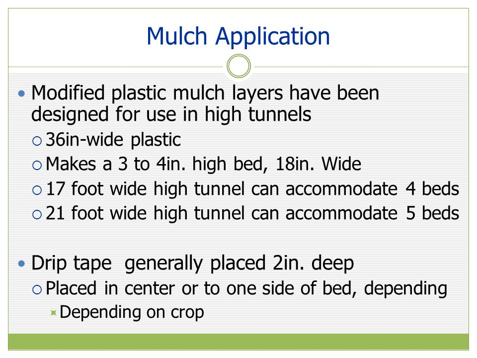 Mulch Application Modified plastic mulch layers have been designed for use in high tunnels. 36in-wide plastic.