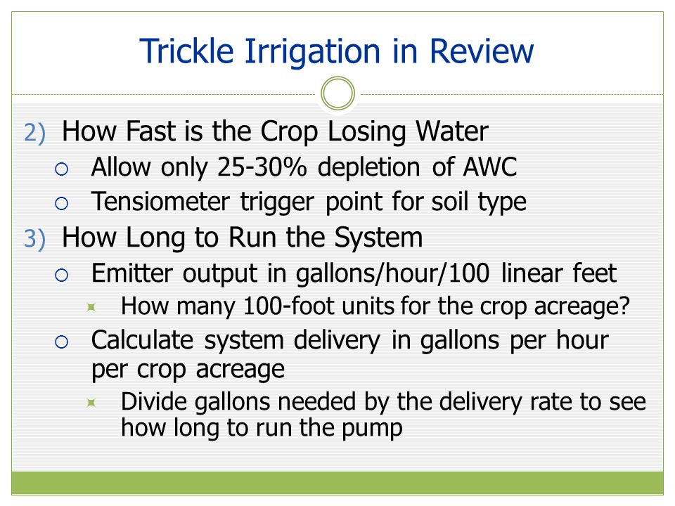 Trickle Irrigation in Review