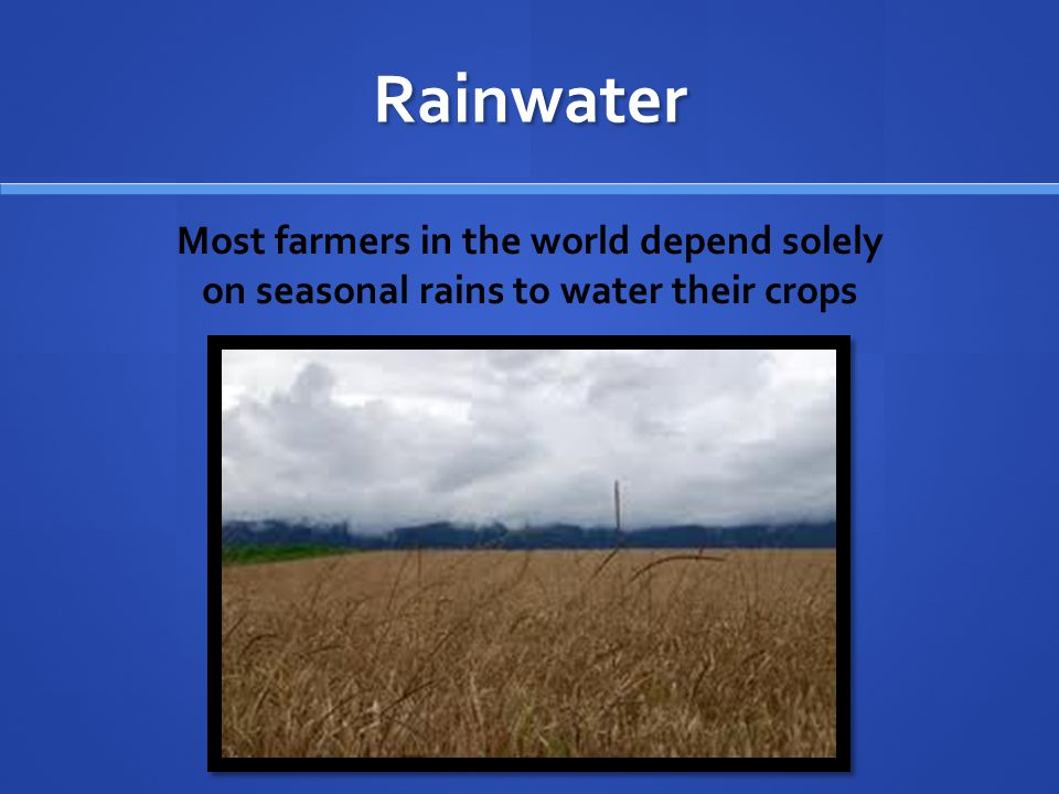 Rainwater Most farmers in the world depend solely