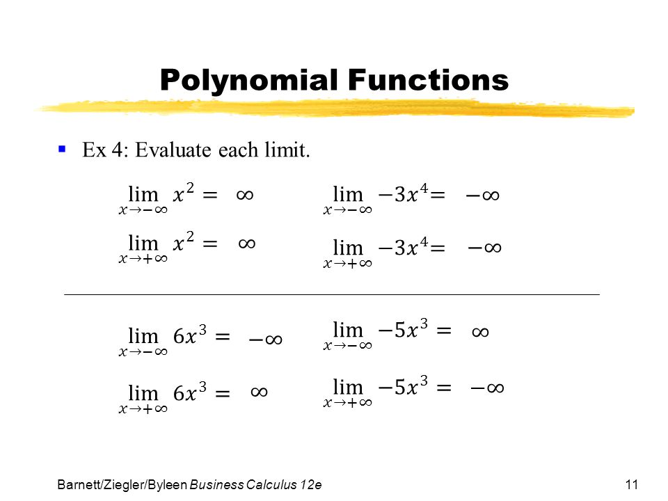 Polynomial Functions Ex 4: Evaluate each limit. lim 𝑥→−∞ 𝑥 2 = ∞