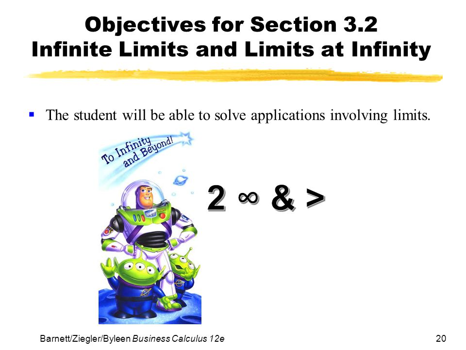 Objectives for Section 3.2 Infinite Limits and Limits at Infinity