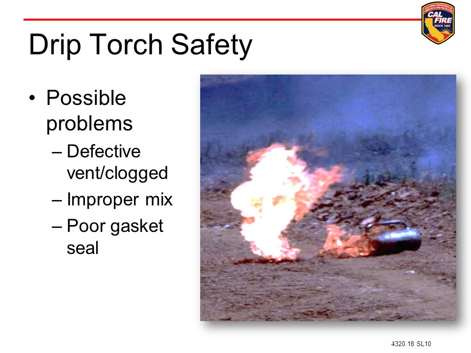 Drip Torch Safety Possible problems Defective vent/clogged