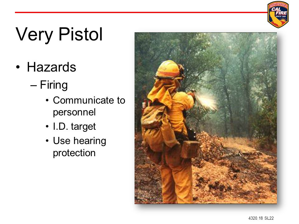 Very Pistol Hazards Firing Communicate to personnel I.D. target