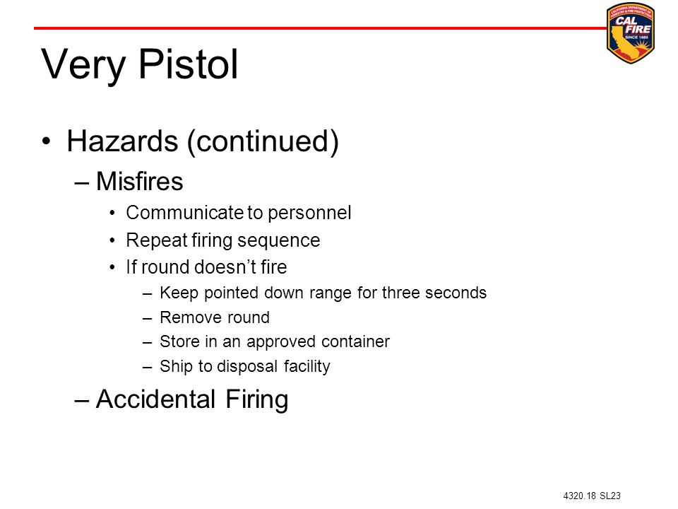 Very Pistol Hazards (continued) Misfires Accidental Firing
