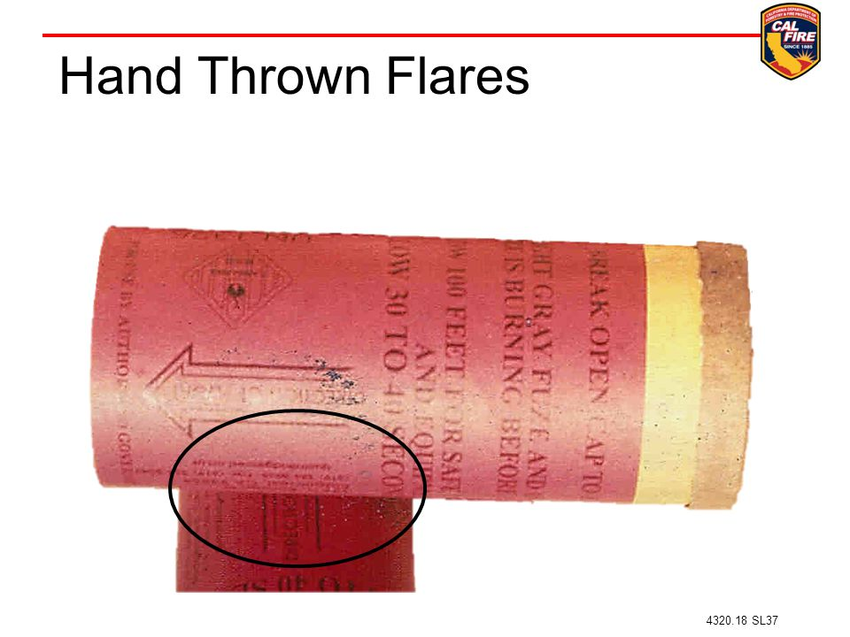 Hand Thrown Flares Arrow on flare directs the direction of throw