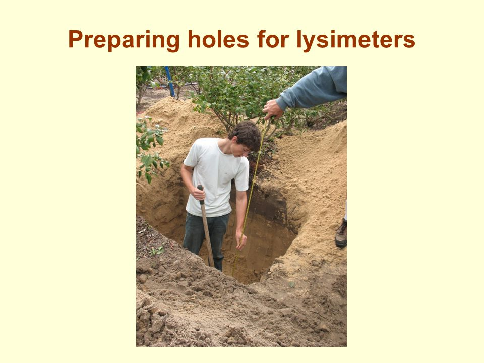 Preparing holes for lysimeters