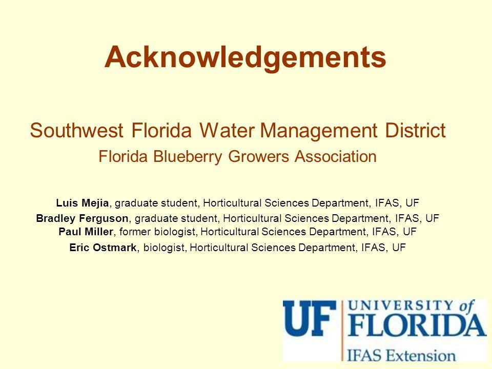 Acknowledgements Southwest Florida Water Management District