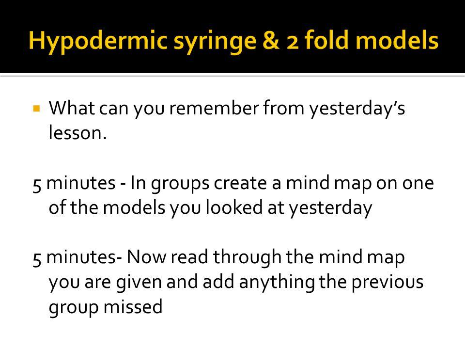 Hypodermic syringe & 2 fold models