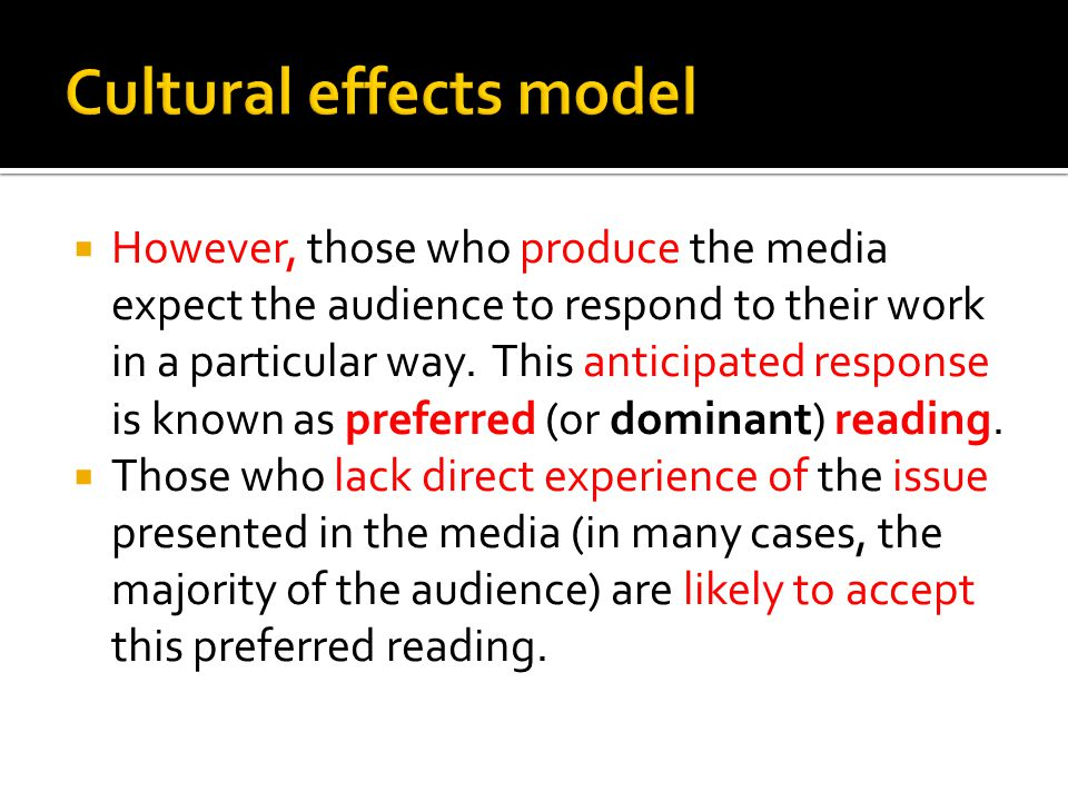 Cultural effects model