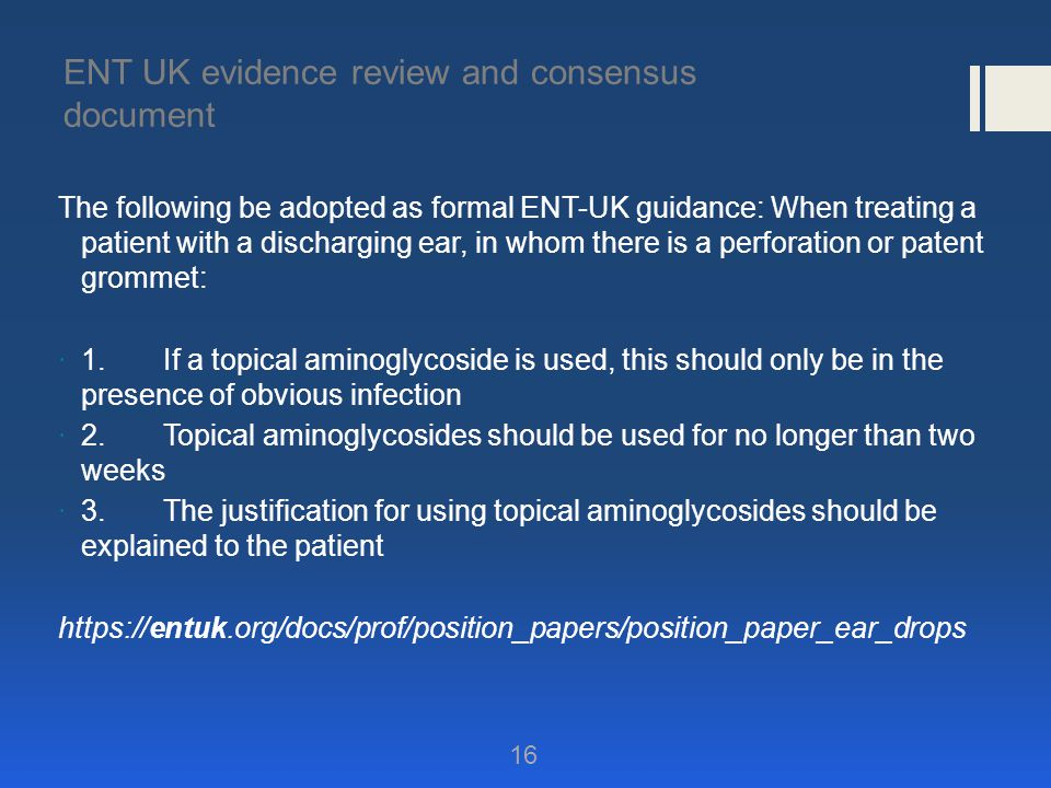 ENT UK evidence review and consensus document