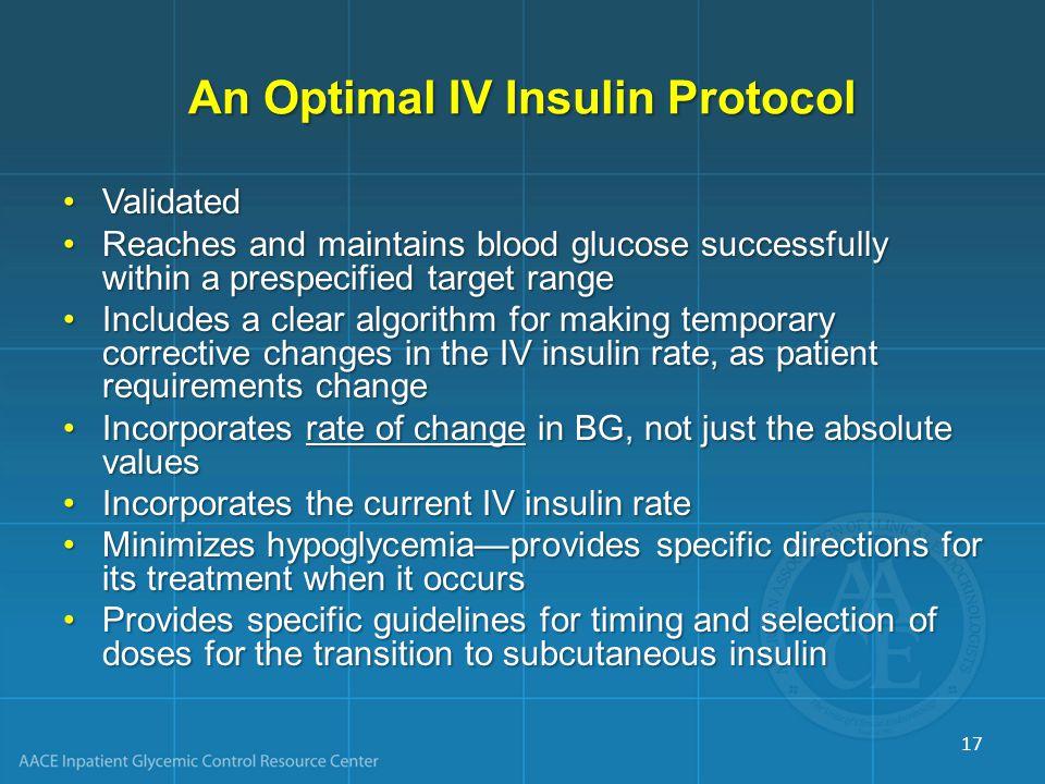 An Optimal IV Insulin Protocol