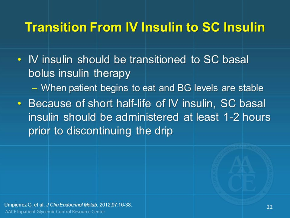 Transition From IV Insulin to SC Insulin
