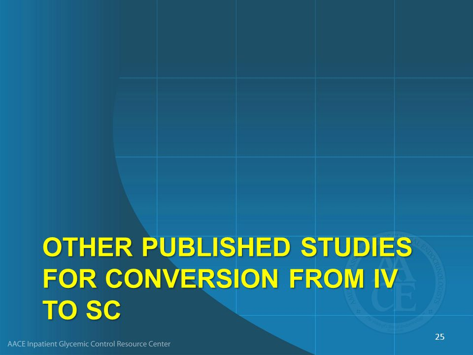 Other Published Studies for Conversion from IV to SC