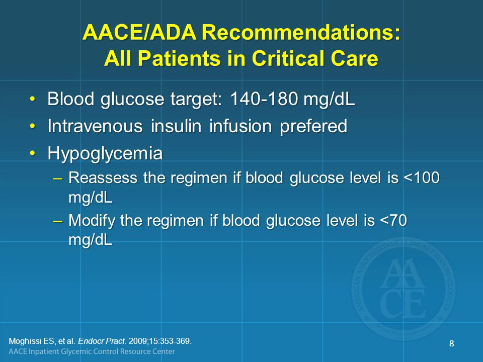AACE/ADA Recommendations: All Patients in Critical Care