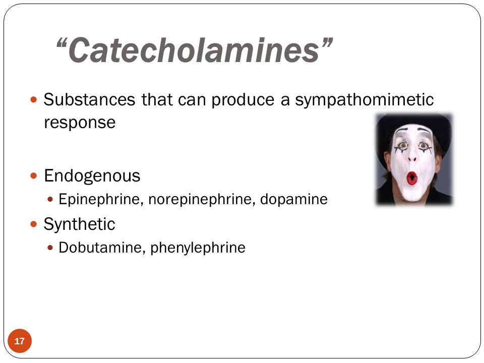 Catecholamines Substances that can produce a sympathomimetic response. Endogenous. Epinephrine, norepinephrine, dopamine.