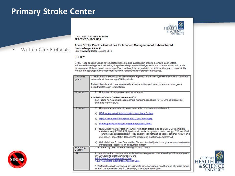 Primary Stroke Center Written Care Protocols: