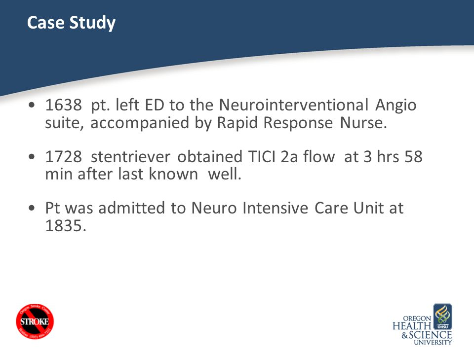 Case Study 1638 pt. left ED to the Neurointerventional Angio suite, accompanied by Rapid Response Nurse.