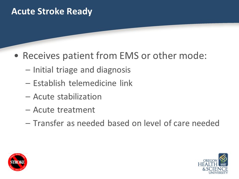 Receives patient from EMS or other mode: