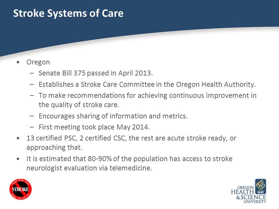 Stroke Systems of Care Oregon Senate Bill 375 passed in April 2013.