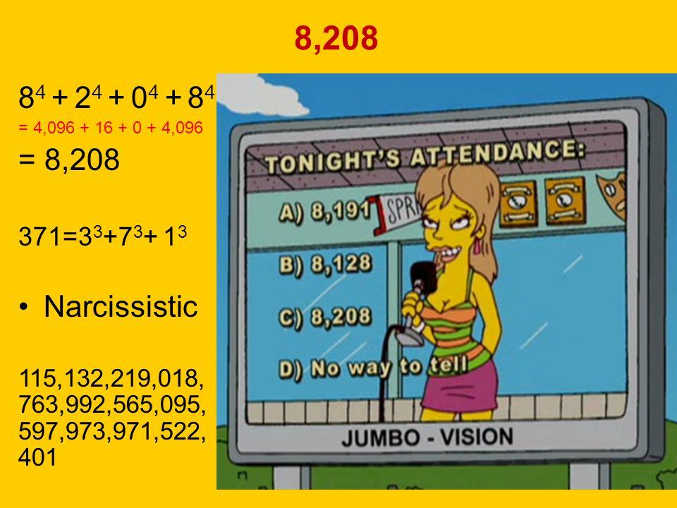 8,208 84 + 24 + 04 + 84. = 4,096 + 16 + 0 + 4,096. = 8,208. 371=33+73+ 13. Narcissistic. 115,132,219,018,763,992,565,095,597,973,971,522,401.