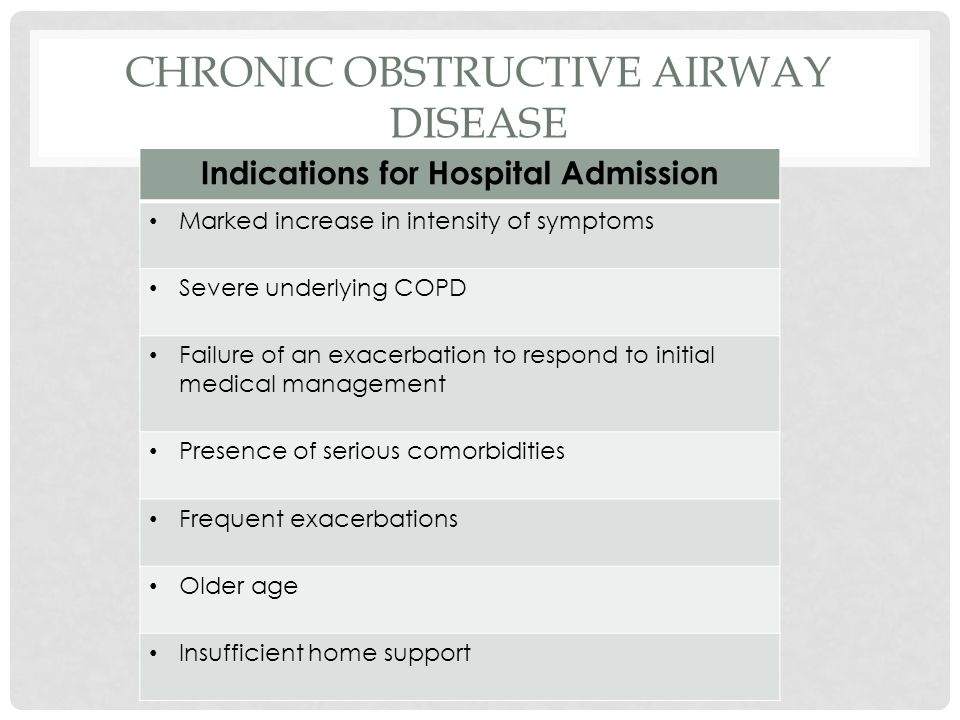 CHRONIC OBSTRUCTIVE AIRWAY DISEASE