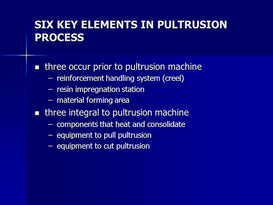 SIX KEY ELEMENTS IN PULTRUSION PROCESS