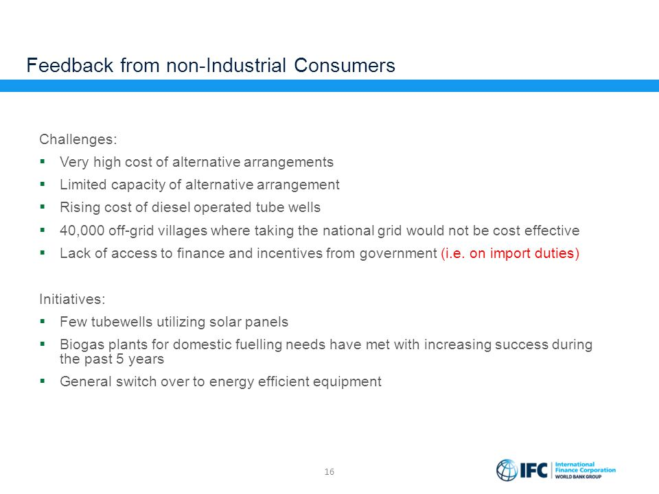 Feedback from non-Industrial Consumers