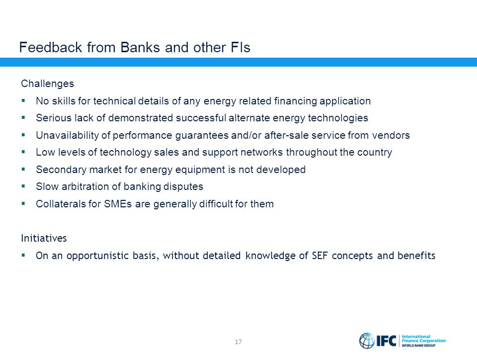 Feedback from Banks and other FIs