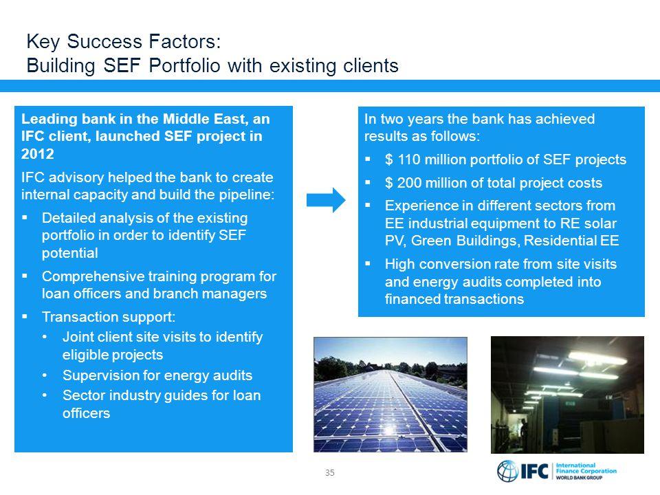 Key Success Factors: Building SEF Portfolio with existing clients