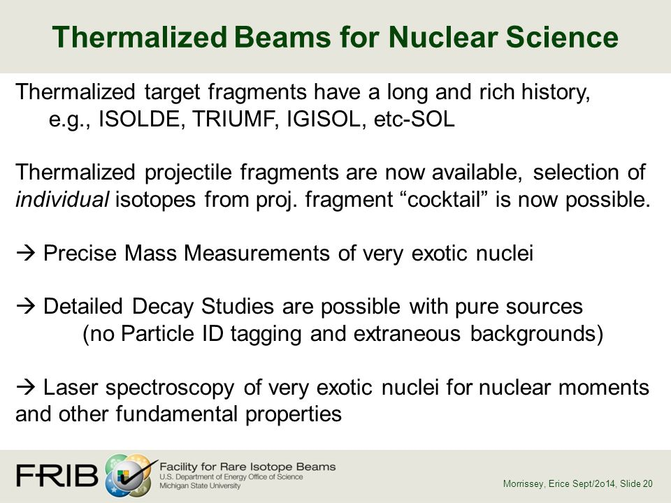 Thermalized Beams for Nuclear Science