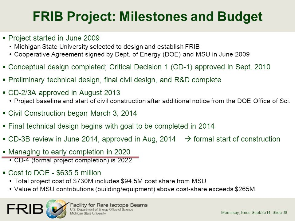 FRIB Project: Milestones and Budget