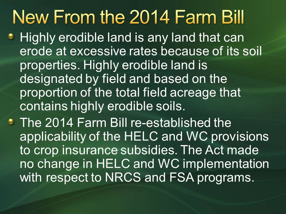 New From the 2014 Farm Bill