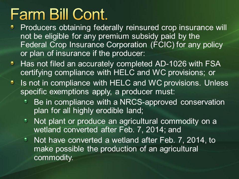 Farm Bill Cont.