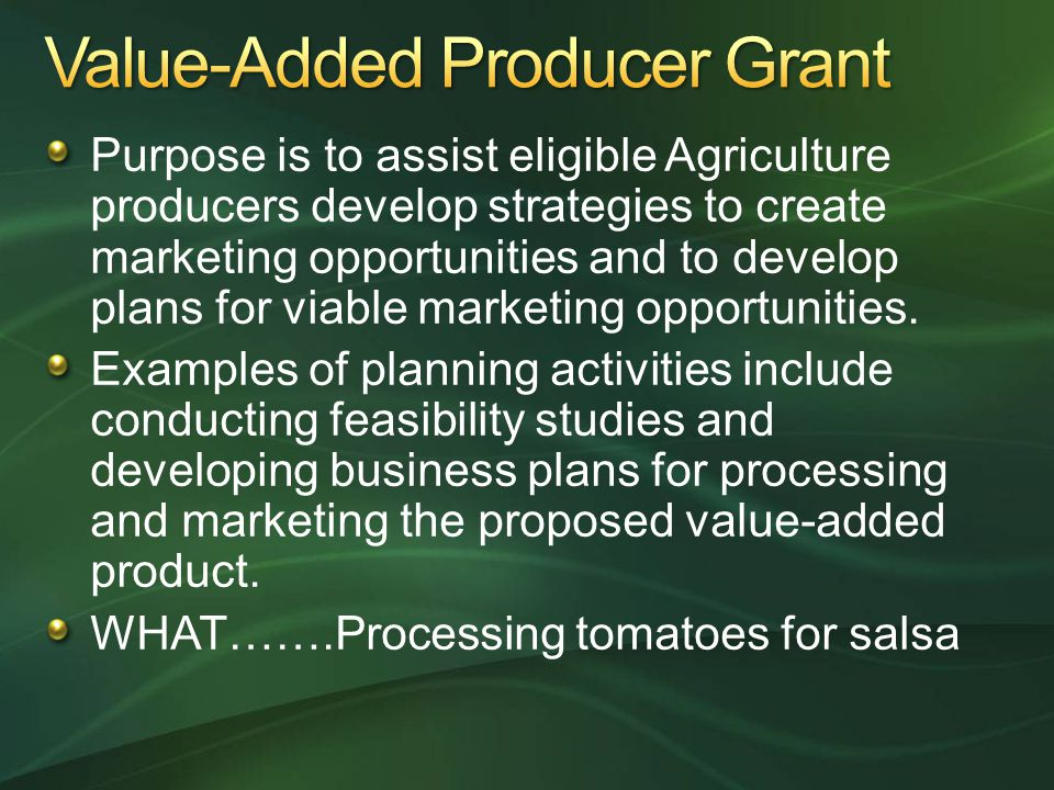 Value-Added Producer Grant
