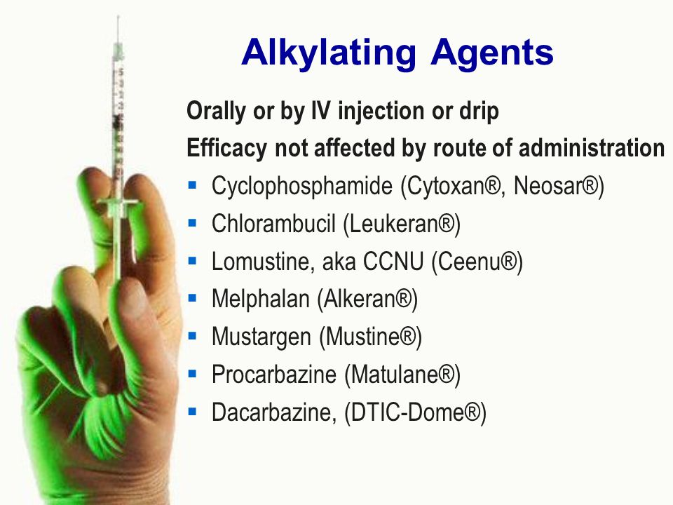 Alkylating Agents Orally or by IV injection or drip