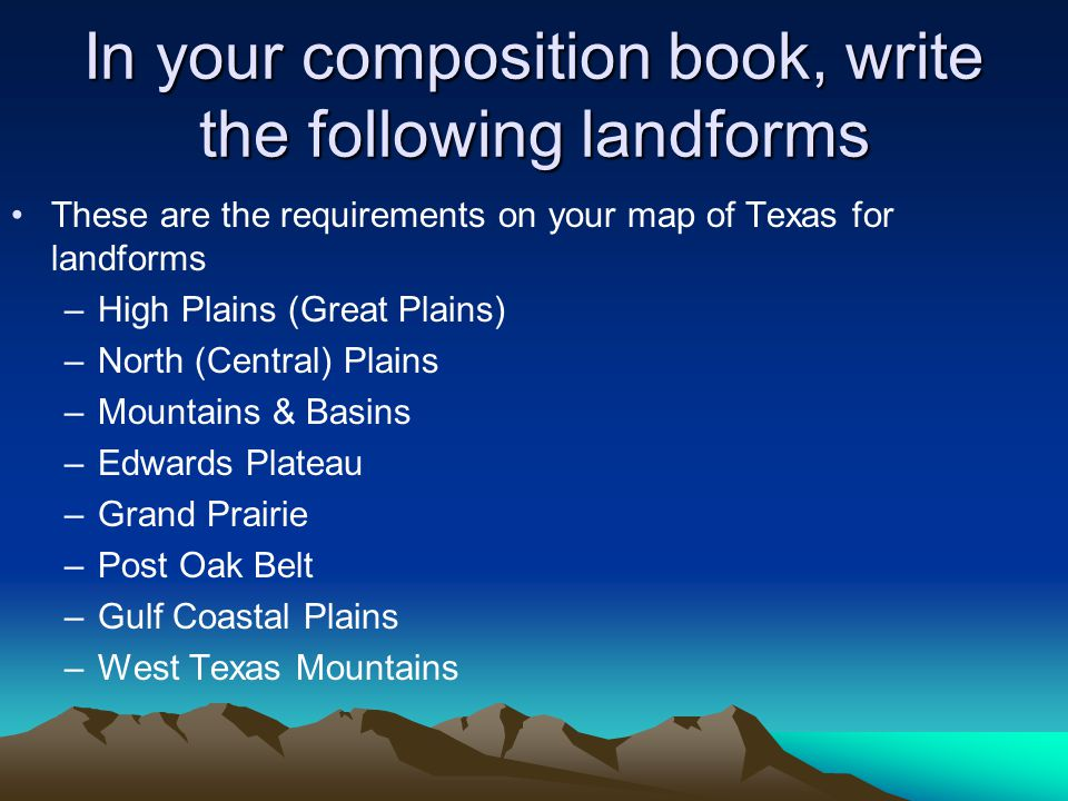 In your composition book, write the following landforms