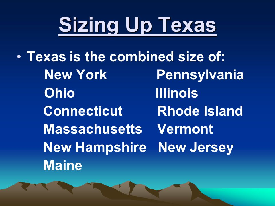 Sizing Up Texas Texas is the combined size of: New York Pennsylvania