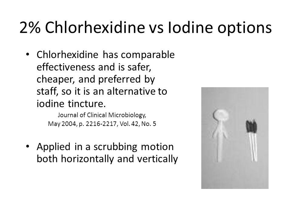 2% Chlorhexidine vs Iodine options