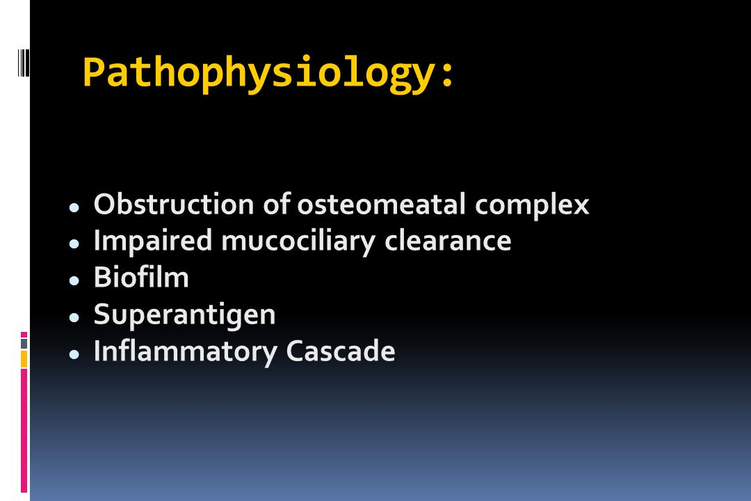 Pathophysiology: Obstruction of osteomeatal complex