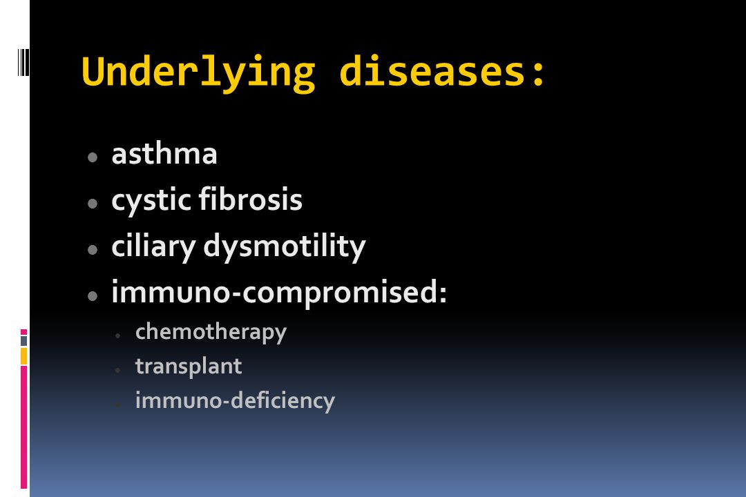 Underlying diseases: asthma cystic fibrosis ciliary dysmotility